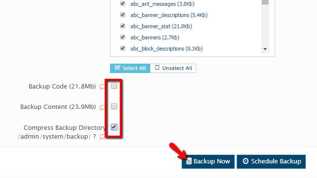 configuring the database backup