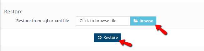 restoring the database backup