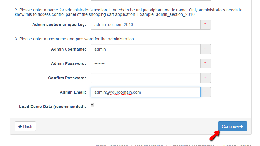 admin URL and account settings