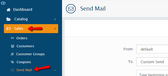 accessing the send mail option