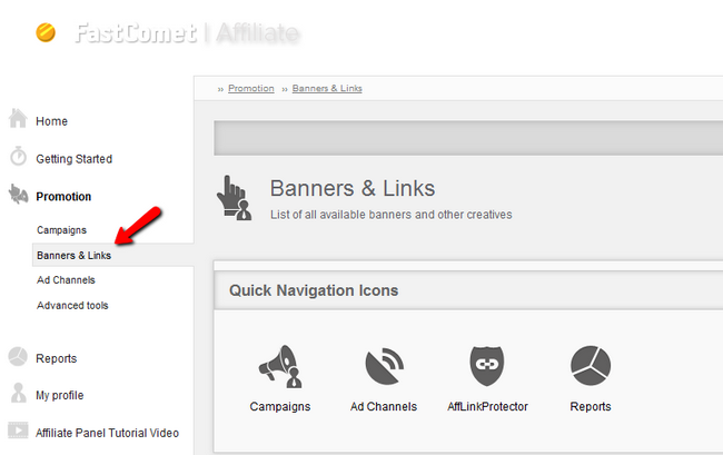 Accessing the Banners & Links section in your Affiliate profile