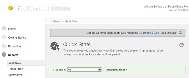 Generating a quick Affiliate report