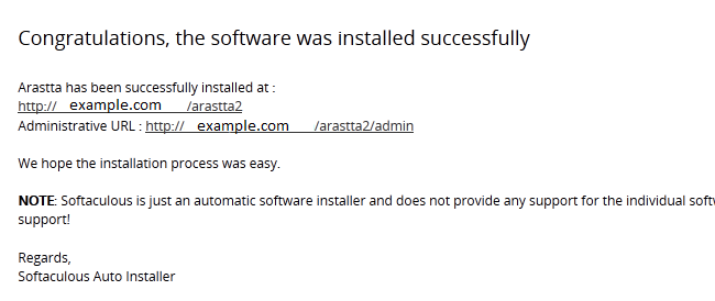Successfull Arastta Installation
