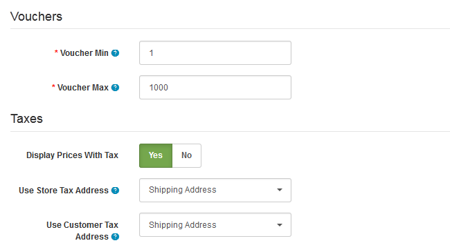 Voucher and Tax Options in Arastta