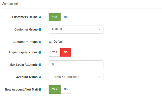 Account Options in Arastta