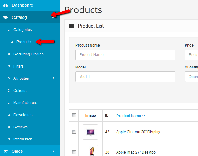 Accessing the Products menu