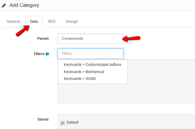 Configure the Filters in a Category