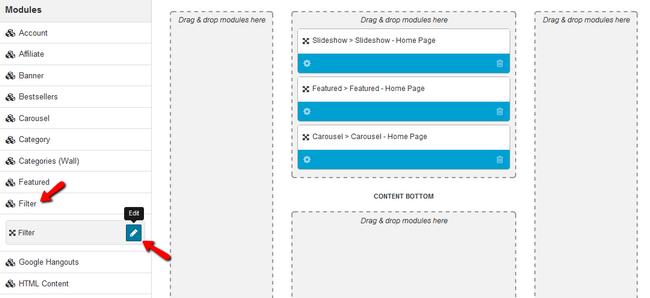 Edit the Filter Module