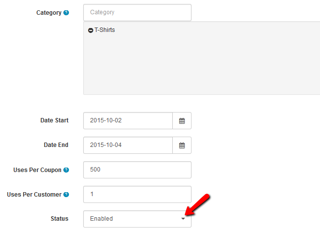 Discount Coupons Configuration Settings in Arastta