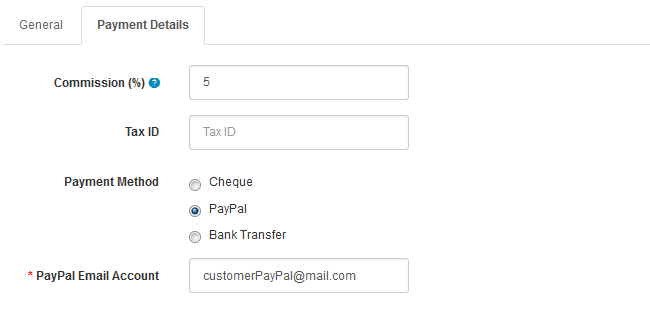 Configuring the Payment Details of the Affiliate