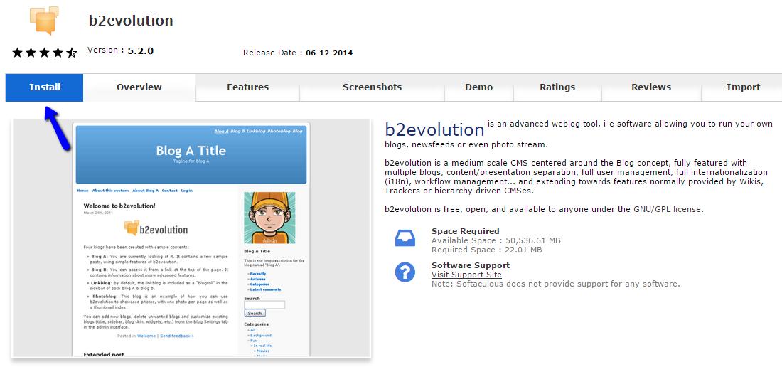 Install b2evolution via Softaculous