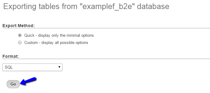 Quick export option for your b2evolution database