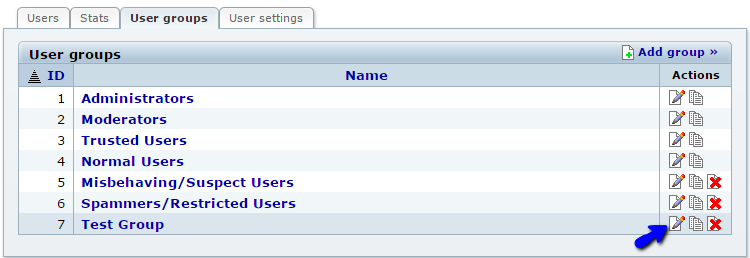 Edit existing user group in b2evolution