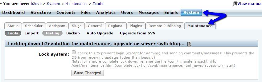 Access system maintenance menu in b2evolution
