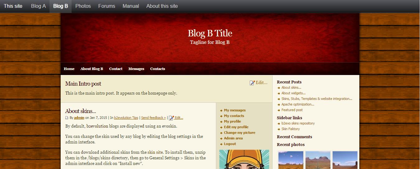 b2evolution sample website