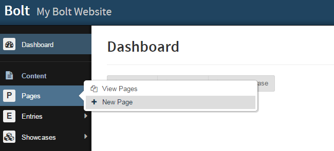 Add New Page in Bolt