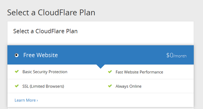 Choosing a Plan for your CloudFlare account