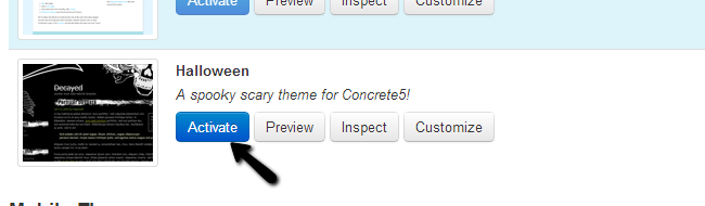 Activate theme in Concrete5