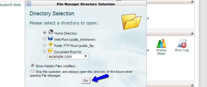 File manager options in cPanel