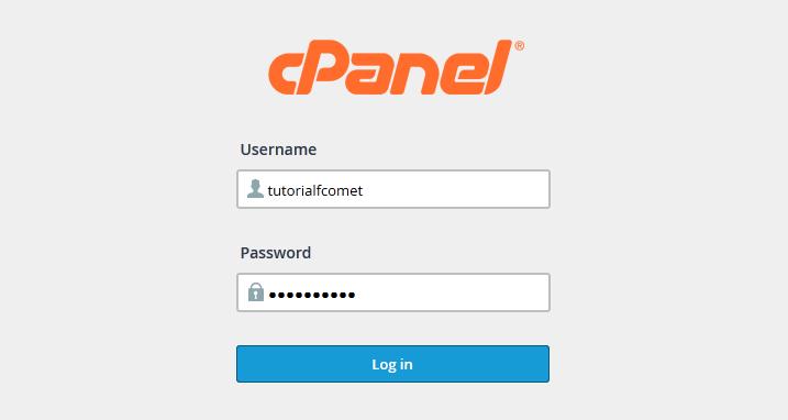 cPanel login form