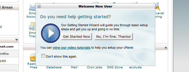 cPanel welcome form