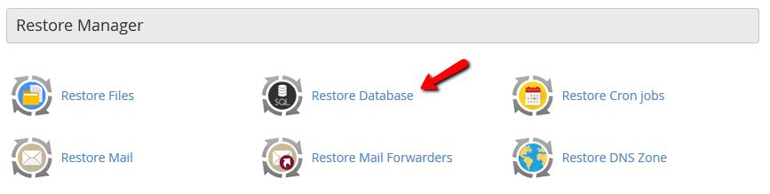 restore database cpanel