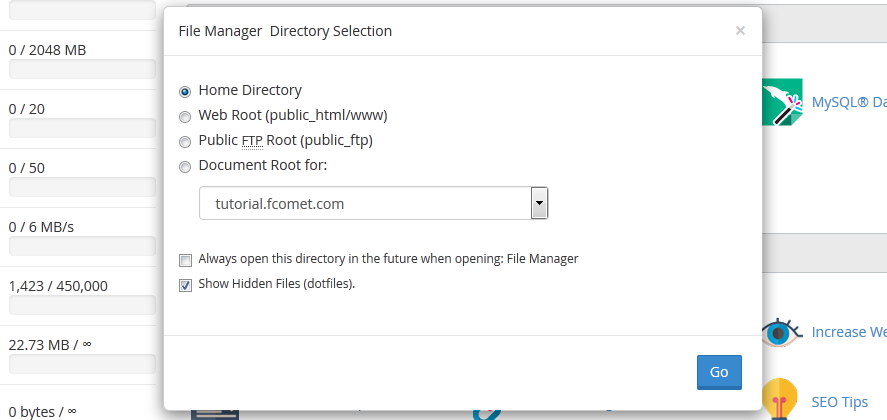 Directory selector in cpanel