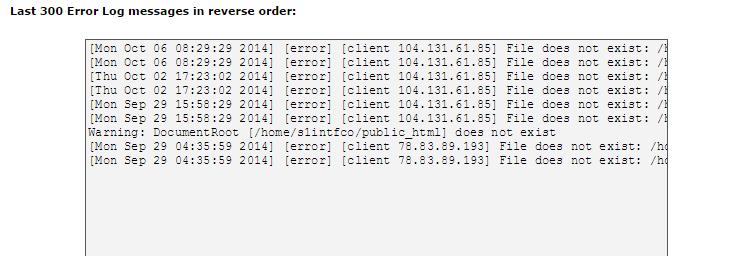 cpanel error log