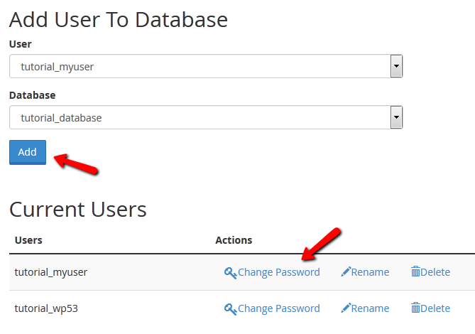 add mysql user to database