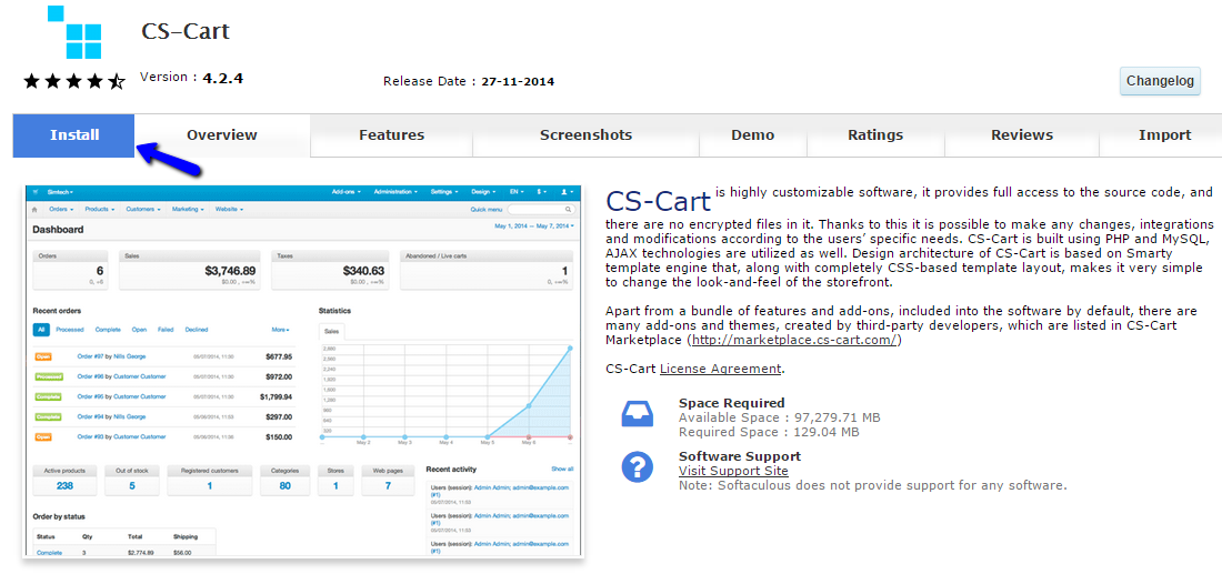 CS-Cart overview in Softaculous
