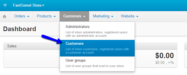 Access customers manager in CS-Cart