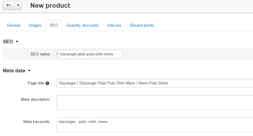 SEO details for products in CS-Cart