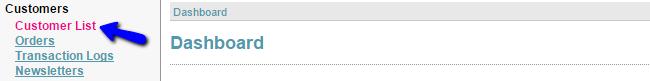 Access Customer list in CubeCart