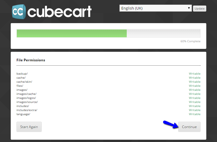 File permissions during CubeCart install