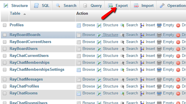 phpMyAdmin-database-export