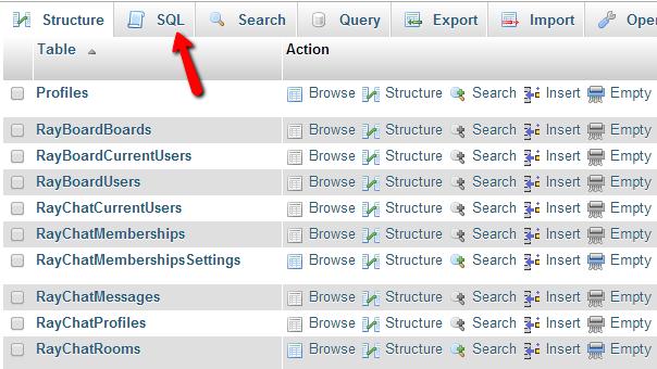 phpMyAdmin-SQL-exection
