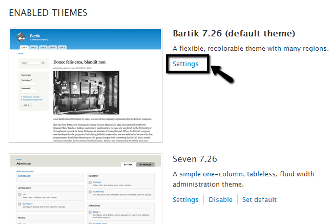 Edit theme settings in Drupal