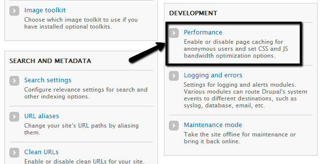 Access performance settings in Drupal