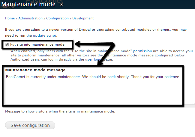 Enable maintenance mode in Drupal