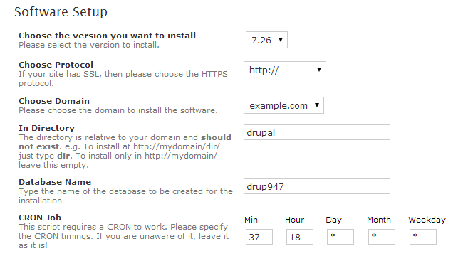 Drupal software setup via Softaculous