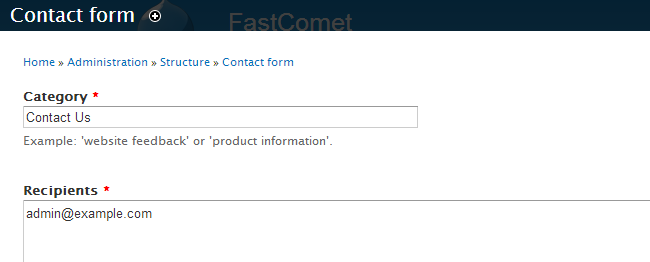Edit contact us form options in Drupal