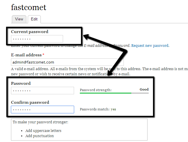 Change your account password in Drupal