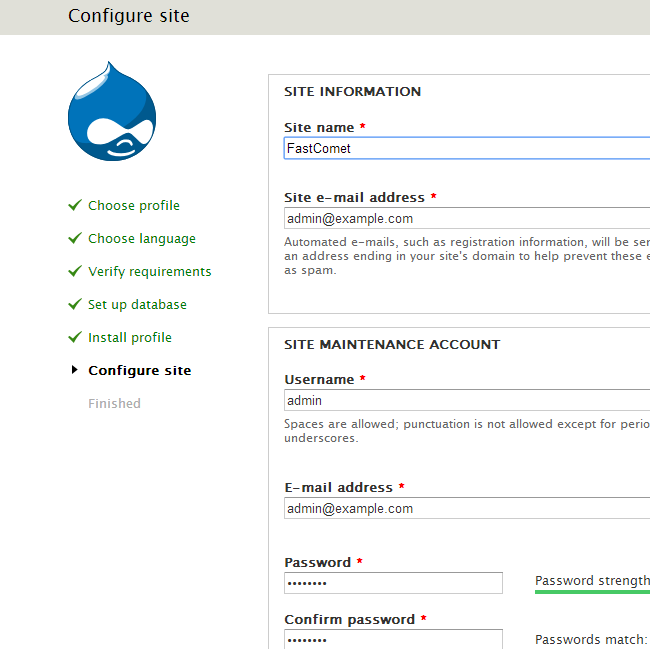 Site configuration during Drupal install