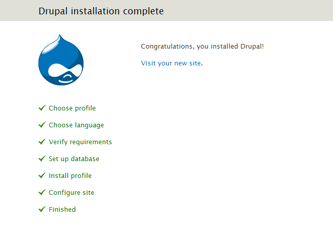 Installation of Drupal is successfully completed