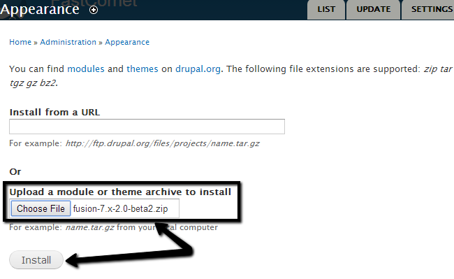 Upload theme package in Drupal