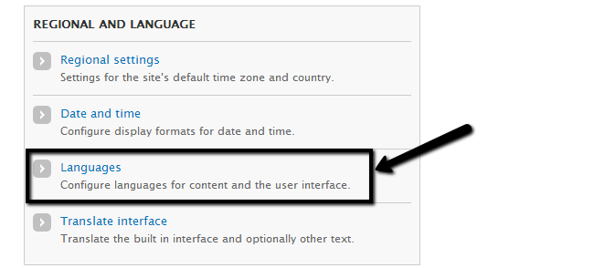 Access languages feature in Drupal