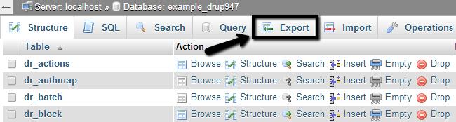 Export Drupal database via phpMyAdmin