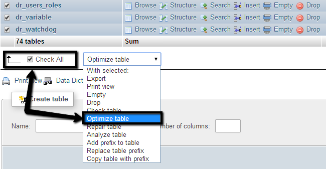 Check all tables and run optimization tool via phpMyAdmin