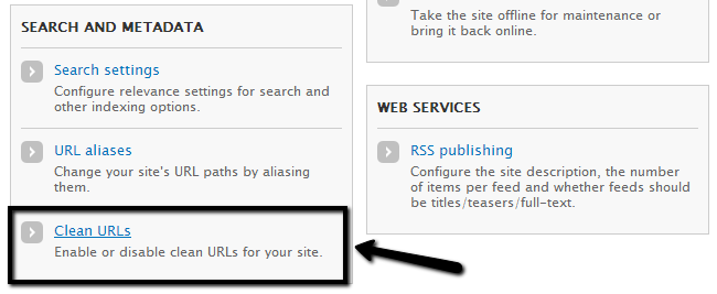 Access Clean URLs option in Drupal