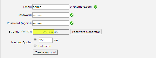 Create a new email account in cPanel